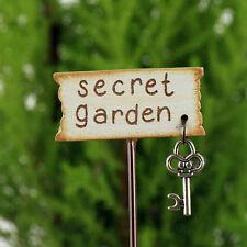 Secret Garden Miniature Sign with key ~ Fairy Garden ~ Handmade~ Dolls House