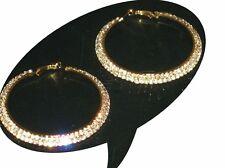 Ladies Large Wide Hoop 2 Row Diamante Earrings Gold Girls NEW