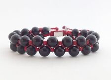 Double Layer Black Onyx Beaded Shamballa Adjustable Kabbalah Bracelet Mens Women