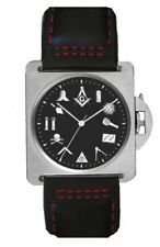 """""""The Classic"""" Masonic Emblem Watch Has 316L Stainless Steel Case & Leather Strap"""
