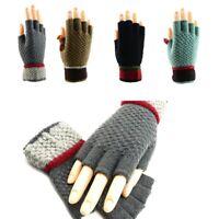 Men Women Knitted Stretch Winter Thicken Warm Soft Half Finger Fingerless Gloves