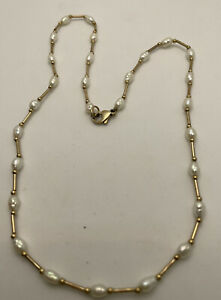 """VINTAGE 9ct GOLD BAR & FRESHWATER PEARL NECKLACE 5g SIZE 16"""" Wear Or Scrap"""