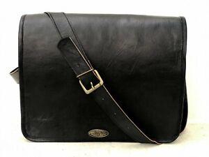 New Men Real Goat Leather Vintage Black Messenger Shoulder Laptop Bag Briefcase