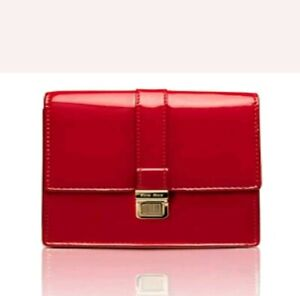 MIU MIU Clutch Bag Cosmetic Makeup Case Red With Gold Snap New in Box!
