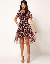 Rare Hi Low Shirt Dress In Red Roses Floral Print Size UK 12