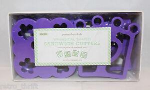 Pottery Barn Whimsical Shaped Sandwich Cutters Set of 4 Purple BPA Free School