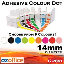 BRAND NEW 1200 x Adhesive Colour Sticker Dot 14mm Round Labels Colour Code Dots