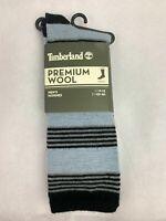 Timberland 1 Pair Premium Wool Blue/Black Striped Men's Crew Socks A178X-A56
