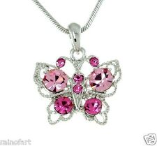 "Butterfly W Swarovski Crystal Pink Wings New Pendant Necklace Jewelry 18"" Chain"
