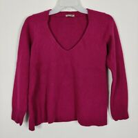 Jigsaw Wool Cashmere Blend V Neck Ribbed  Pink Jumper Size Small