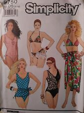 UNCUT Vtg 1990 Simplicity 9750 One and Two Piece Swimsuits and Pareo 4 6 8 10 12