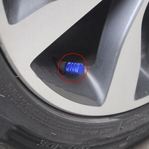 4x Car Wheel Tire Valve Stems Air Dust Blue Cover Caps Screw Trim Accessories