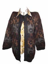 ESCADA Vtg Womens Casual Animal Knit Nordic Mohair Fluffy Warm Cardigan sz M X77