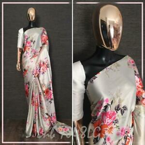 White Women Designer Saree Silk Indian Ethnic Festival Party Light Weight Sari