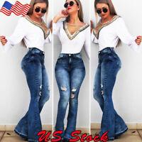 Womens Denim Jeans Bell Bottom Casual High Waist Wide Leg Trousers Flare Pants