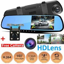 "HD 1080P 4.3"" Dual Lens Car DVR Dash Cam Reversing Camera Mirror Video Recorder"