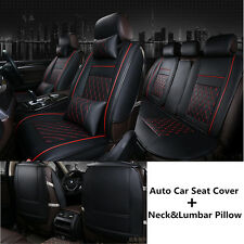 Auto Car Seat Cover Cushion Full Set 5 Seats + Neck & Lumbar Pillows Easy Clean