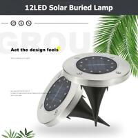 12 LED Solar Powered Buried Light In-Ground Lamp Outdoor Pathway Garden Decking