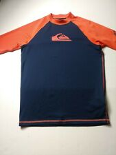 Quicksilver Youth Boys Mock Neck Swim Shirt Size XL Blue Orange Short Sleeve