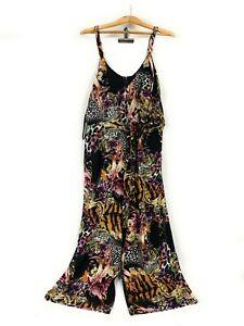 Crossroads Black Tropical Print 1-Pc Tie Side Jumpsuit Plus Size Womens 18 NWT