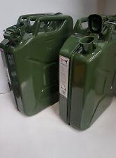 2x 20 Litre Metal Fuel Jerry Can Diesel Petrol Oil Tank Green