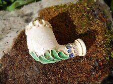 Ancienne pipe en terre cuite Gambier ? décor feuillage émaillé