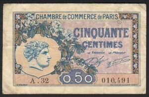 1920 50 Centimes Paris France Vintage Emergency Paper Money Banknote Currency VF