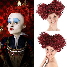 Alice In Wonderland Queen of Hearts Burgundy Curls Wig Cosplay Halloween Party