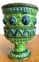 Vintage Artmark Green and Blue Ceramic Pedestal Planter Made In Japan