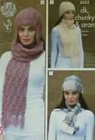 KNITTING PATTERN Ladies Scarves and Hats Chunky, Aran DK King Cole 4353