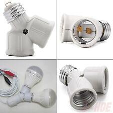 E27 1 Base to 2 Socket LED Halogen CFL Light Bulb Splitter Studio Lamp Adapter
