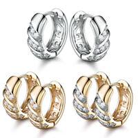 18K Silver & Yellow Gold Filled Hollow Diamond Crystal Women Lady Hoop Earrings