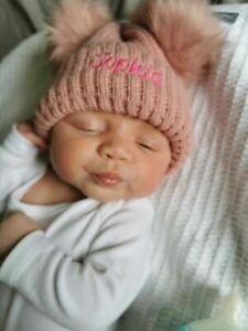 Personalised DOUBLE GREY/PINK/white big pom pom Baby Girls Boys Hat Newborn