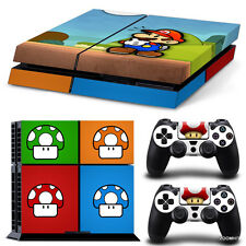 PS4 Playstation 4 Console Skin Decal Sticker Mario Bros + 2 Controller Skins Set