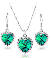 Crystal Emerald Green & Silver Jewellery Set of Drop Earrings & Necklace S792