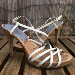 GUESS High Heels Leather Sandals Ankle Straps White size 5M