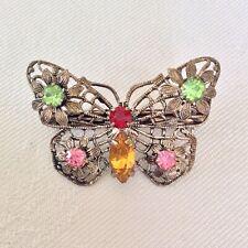 Vintage Art Deco Czech Butterfly Rainbow Rhinestone Flower Filigree Brooch