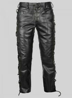 Men's Real Cowhide Leather Bikers Pants Laces Up Bikers Cowhide Leather Pants