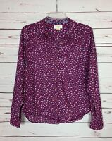Maeve By Anthropologie Women's 6 Purple Floral Button Spring Summer Top Blouse