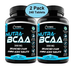 Nutra BCAA 3000mg Tablets, Pre and Post Workout, Non-GMO, Amino Acids (2-Pack)
