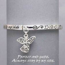 Angel Charm Stretch Bracelet SILVER Star Protect Guide Inspirational Jewelry