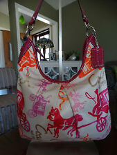 COACH SATEEN HORSE AND CARRIAGE HOBO BAG