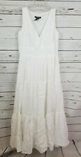 :auren Ralph Lauren Long White Linen Dress Size 6 S Peasant Maxi Sundress #144