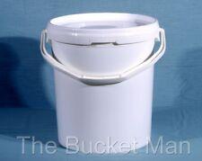 10 x 15 L Ltr Litre White Plastic Buckets Containers with Lids & Plastic Handles