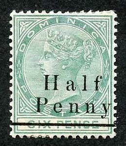 Dominica SG17 1/2d on 6d Green Mint (part gum) Cat 13 pounds