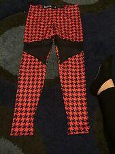 Black Milk Clothing Sample Black Red Houndstooth Mesh Panel Leggings Size L