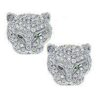 925 Silver Leopard Head Rhinestone Crystal Earrings Animal Ear Studs Jaguar Cat