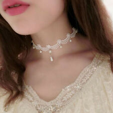 1pc Stylish Woman White Lace Pearl Choker Necklace Statement Bib Collar Jewelry
