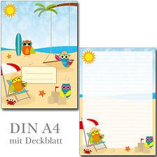 Schreibblock Eulen am Strand A4 25 Blatt Briefpapier Motivpapier Block Sommer