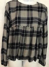 Bella Dahl Shirt Gray And Blue Baby Doll LS NWT Size Xs